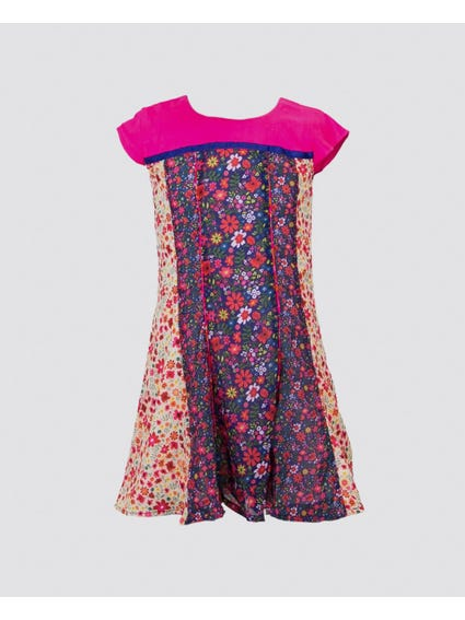 Floral Pattern Round Neck Kids Dress