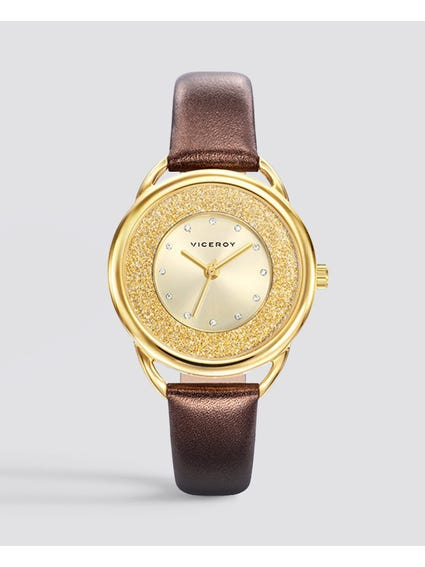 Elegant Gold Dial Leather Watch