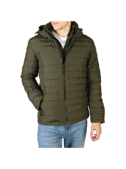 Green Long Sleeve Quilted Zip Jacket