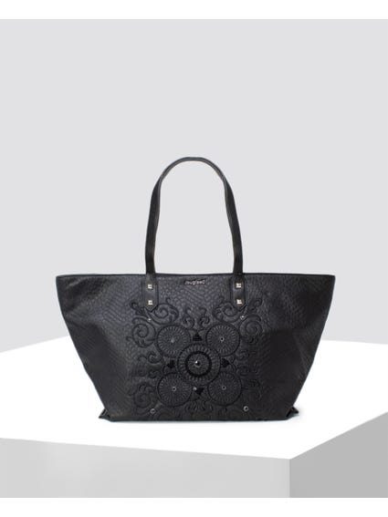 Black Paisley Embroidered Shopper Bag