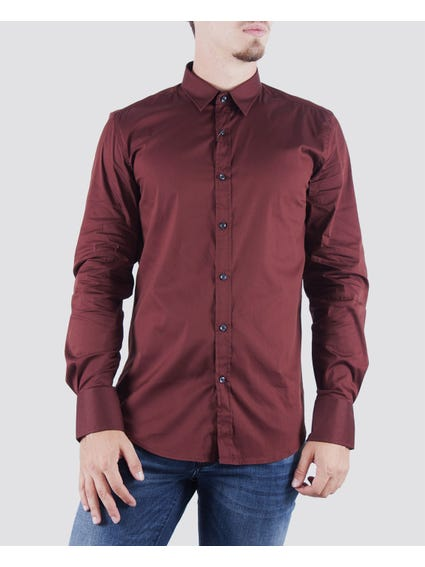 Burgundy Classic Long Sleeves Shirt