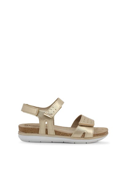 Gold Velcro Strap Leather Sandals