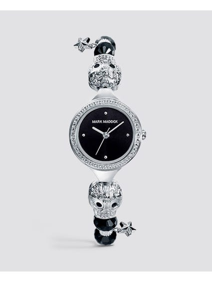 Silver Embellished Stainless Steel Watch