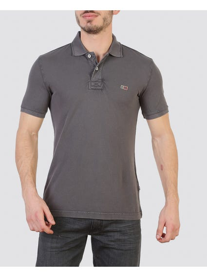 Grey Dual Button Polo Shirt