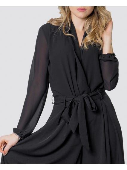 Full Black Long Sleeve Tops with stylish hems