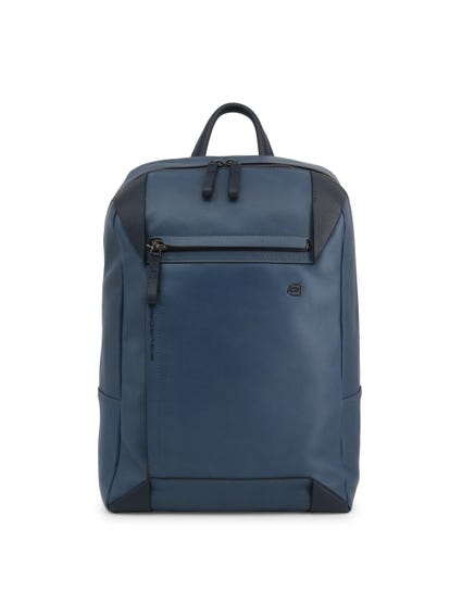 Blue Leather Handle Zipper Pocket Backpack