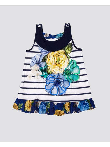 White Floral Striped Kids Top