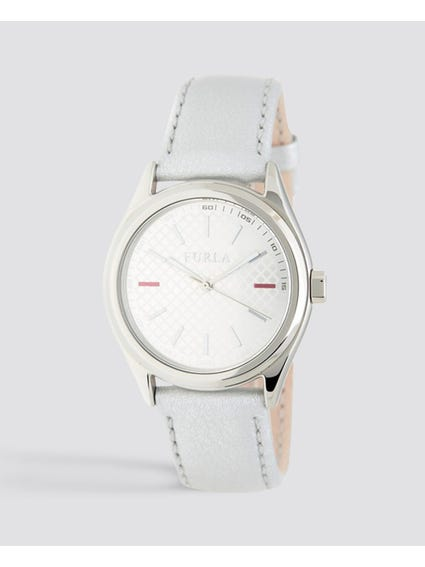 Eva Silver Dial Leather Watch