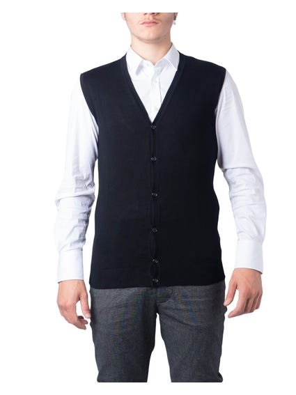 Black Plain Button Gilet