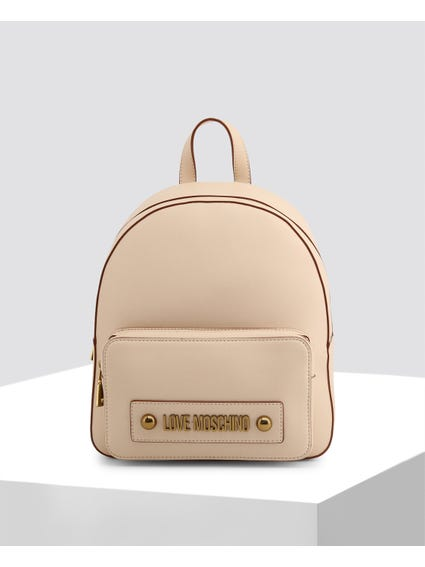 Beige Casual Leather Backpack