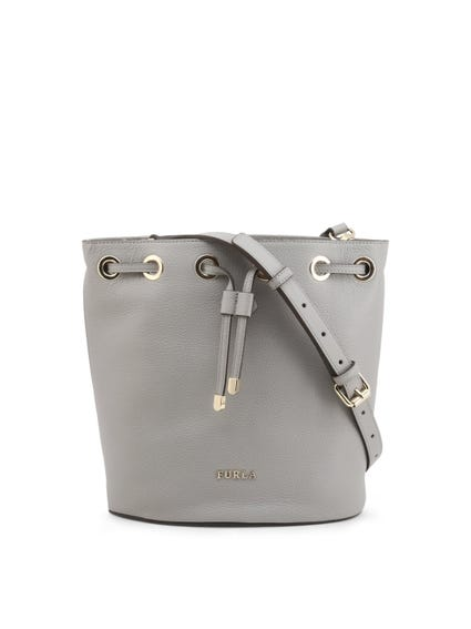 Grey Leather Drawstring Bucket Bag