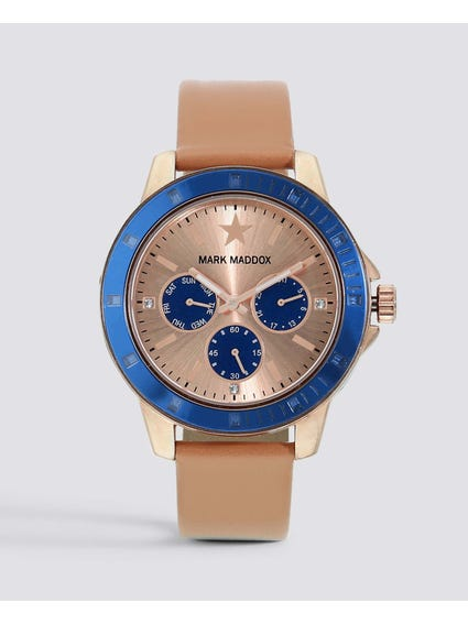 Beige Chronograph. Analog Watch