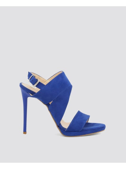 Blue Cut Out High Heel Sandals