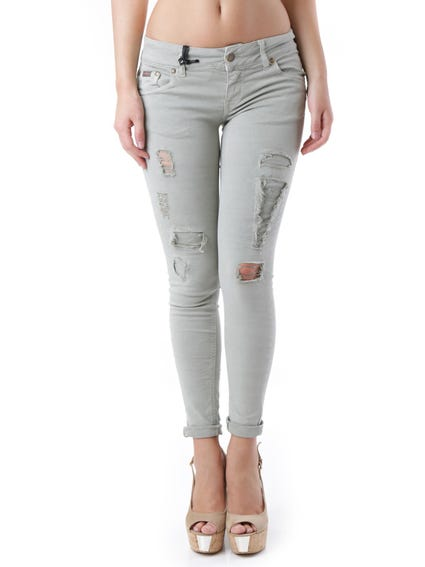 Zip Button Ripped Jeans