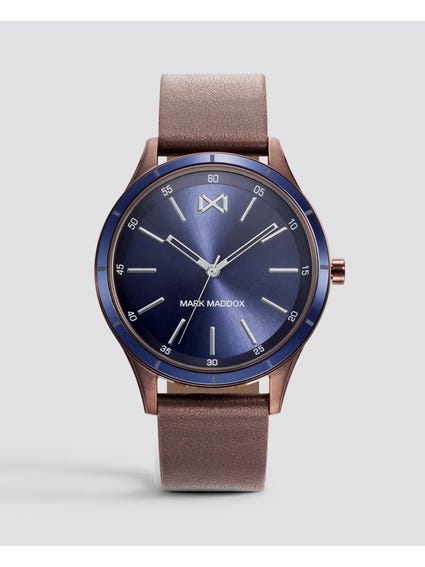 Leather Strap Blue Dial Analog Watch