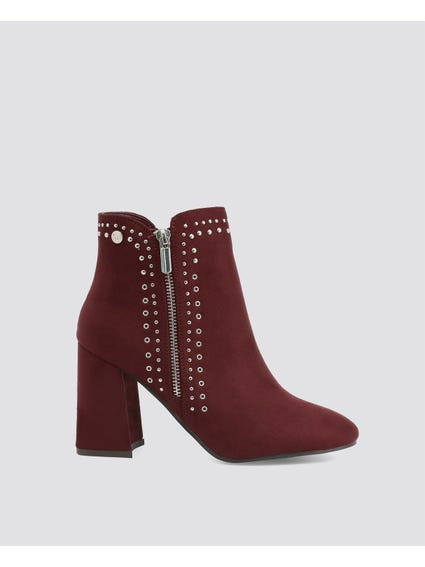 Burgundy Studded Suede Boots