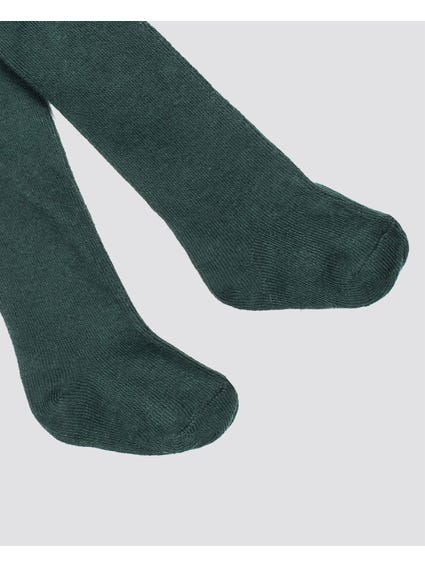 Green Plain Kids Stockings