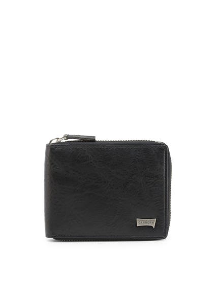 Black Leather Round Zip Wallet