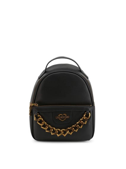 Black Zip Metal Chain Backpack