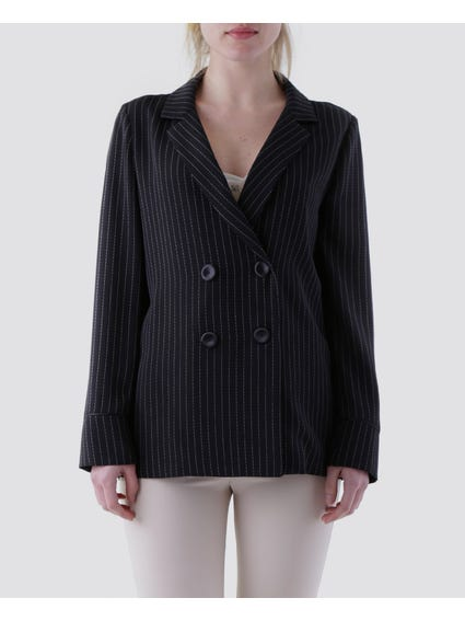 Four Button Striped Blazer