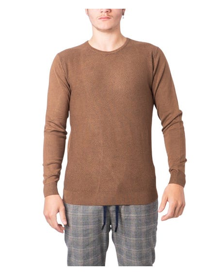 Brown Round Neck Longsleeve Knitwear