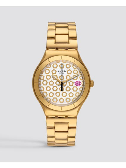 Gold Irony Stainless Steel Analog Watch