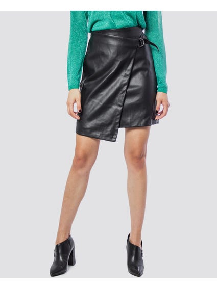 Eve Faux Leather Pencil Wrap skirt