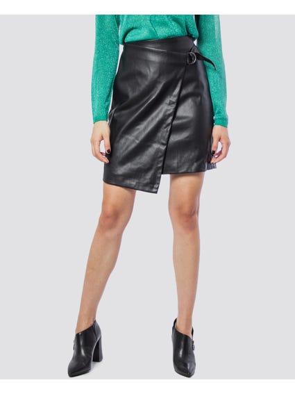 Eve Faux Leather Pencil Wrap skirt