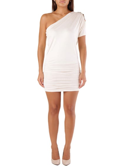 White One Side Sleeve Dress