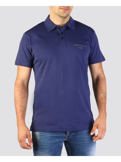Blue Tri-Button Logo Polo Shirt