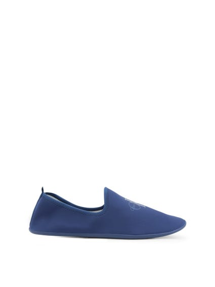 Blue Elastic Slip On Shoes