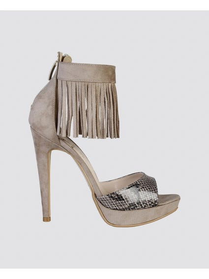 Brown Snake Skin Fringe Sandals
