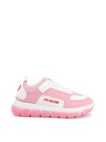 Pink Round Toe Mesh Lace Up Sneakers