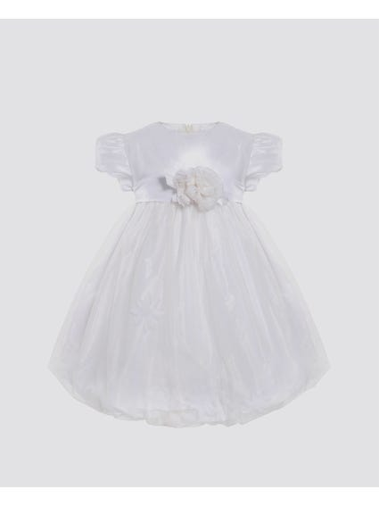 White Self Tie Ribbon Kids Dress