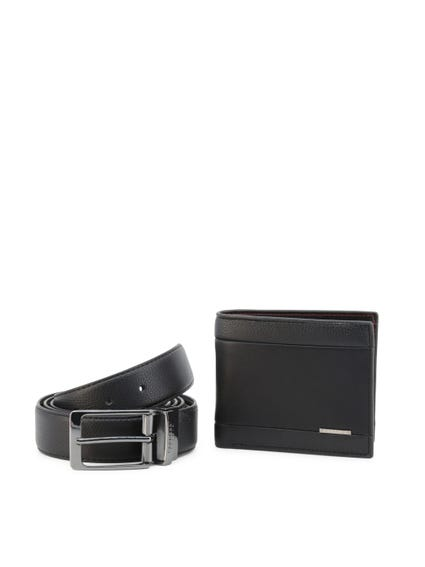 Black Laoban Leather Belt Wallet Set