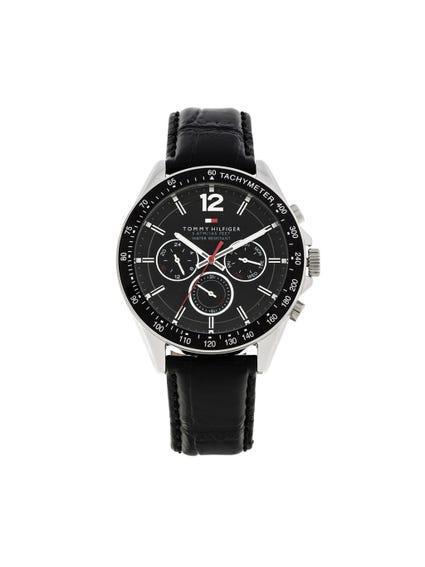 Black Leather Analog Watch