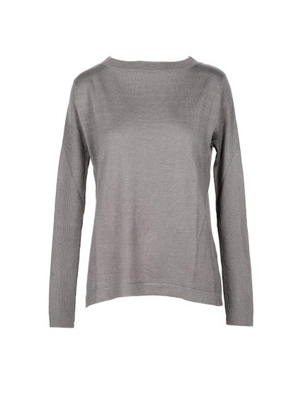 Grey Plain Long Sleeve  Knitwear
