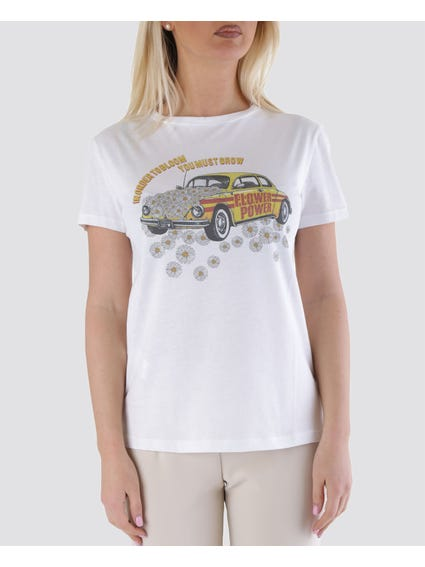 Flower Power Print T-Shirt
