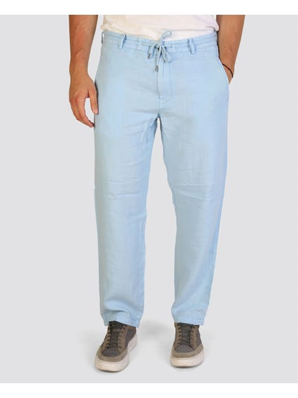 Blue Self Tie Trouser