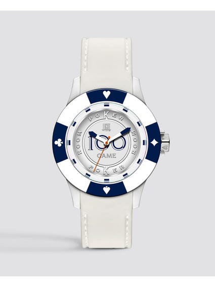 White Silicone Poker Quartz Watch