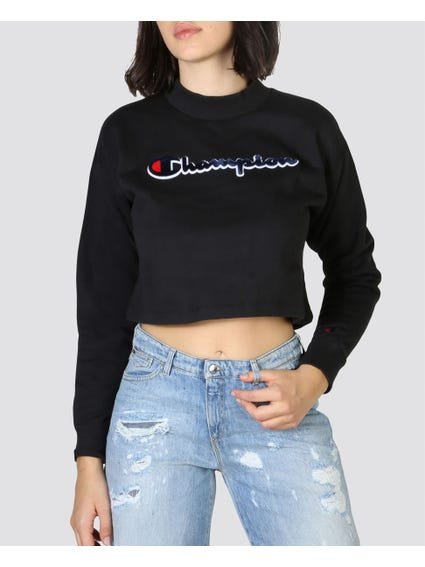 Black Ribbed Crop Sweatshirts