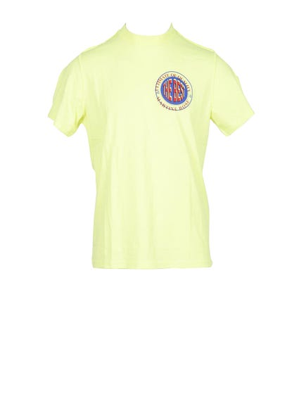 Yellow Round Printed Logo T Shirt