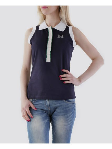 Blue Cover-up Buttons Sleeveless Polo Shirt