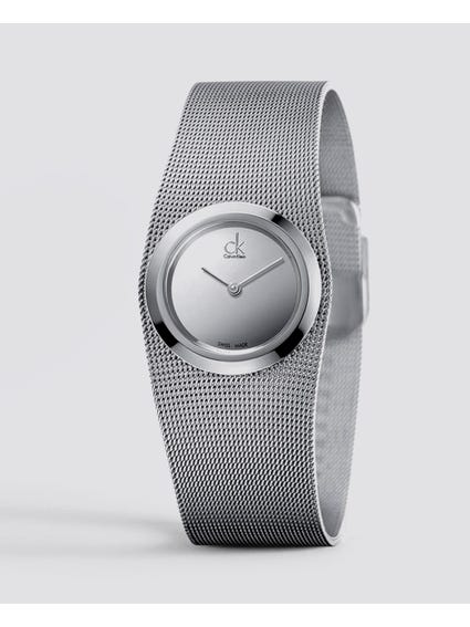 Silver Dial Steel Mesh Watch