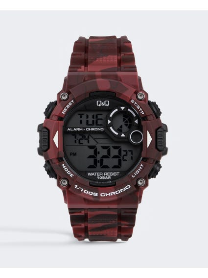 Red Chronograph Digital Watch