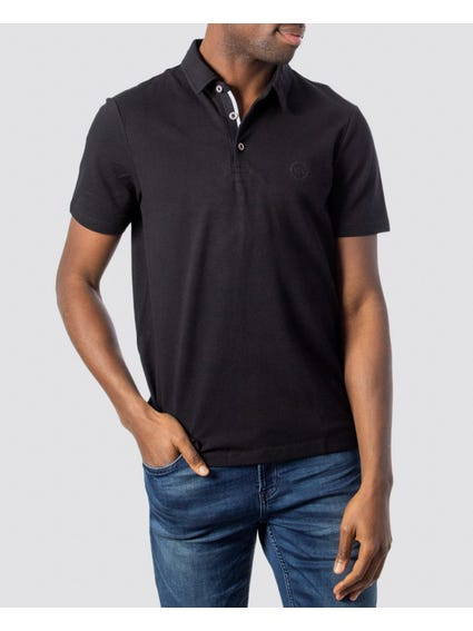 Black Ribbed Placket Polo