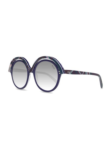 Ocean Blue Overlayed Round Frame Sunglasses