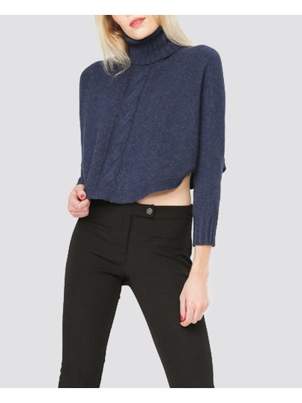 Blue Knitted Turtle Neck Sweater