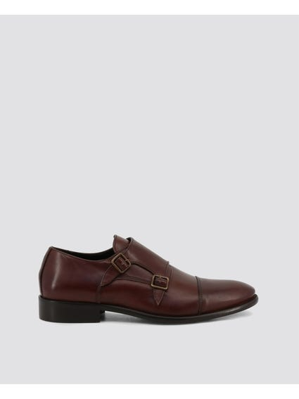 Brown Dejavu Buckle Monk Shoes
