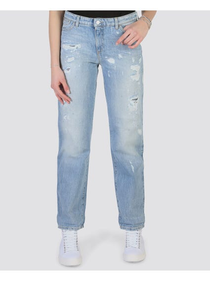 Button Zip Ripped Jeans